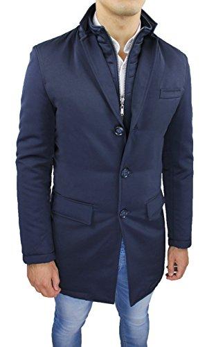 Giubbotto Giacca uomo blu scuro lungo slim fit Giaccone Soprabito casual elegante (L)