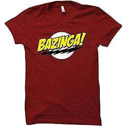 """Camiseta con mensaje en inglés """"Bazinga!"""" inspirado en Sheldon Cooper de la popular serie de TV, ideal como regalo, tallas de la S a 3XL rojo rosso Medium"""