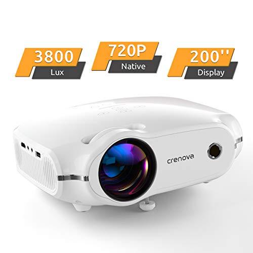 Proiettore 4000 Lux Mini proiettore, proiettore 1280 * 720P con borsa per il trasporto, supporta 1080P, Home Theatre proiettori con 50.000 ore di durata LED con HDMI/VGA/USB/AV bianco
