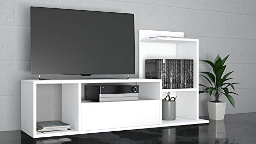 THETA DESIGN by Homemania, Sumatra, Porta TV, Bianco, 125 x 42.5 x 11.5 cm