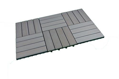 SORARA WPC Piastrelle per decking, Grigio, 30 x 30 cm, 6 Piastrelle