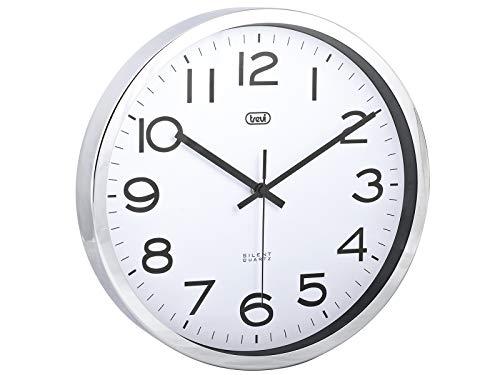 Trevi OM 3318 S Orologio da parete in acciaio, Diametro 30 cm, Argento, metallo, rotonda