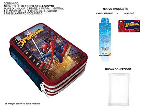 A2Z 4 Kids Astuccio Spiderman 3 Zip con Materiale Giotto