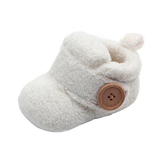 Invernali Caldi Carino Baby Toddler Antiscivolo Fondo Morbido Scarpe da Bambino Stivali di Lana Scarpe in Cotone Spesse Scarponi da Neve Baby Shoes (età: 0~6 Mesi, Bianca)