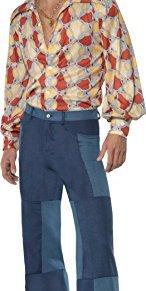 Smiffy'S 22277M Disfraz Retro De Los 70 Camisa Y Pantalones Patchwork De Denim, Azul, M - Tamaño 38