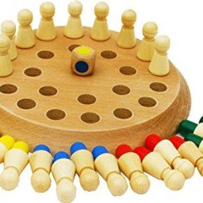 TOWO Juego de Memoria de Madera con 24 Piezas y un Dado de Madera - Tablero de Juegos de Mesa para Niños y Adultos - Juego Familiar de Parejas Educativo de Concentración Niños para el Aire Libre