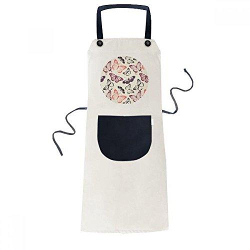 Mariposa en color rosa fondo cocinar cocina Beige ajustable babero Delantal bolsillo Mujeres Hombres Chef regalo
