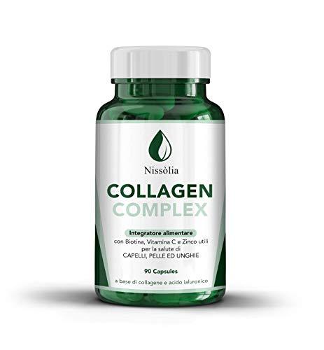 Integratore Per Capelli, Pelle ed Unghia - A Base Di Collagene Con Biotina ed Acido ialuronico - 90 Compresse