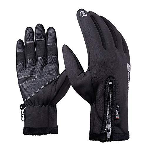 Leoie Men Women Winter Warm Waterproof Windproof Touch Screen Gloves Outdoor Sport Ski Gloves Black M