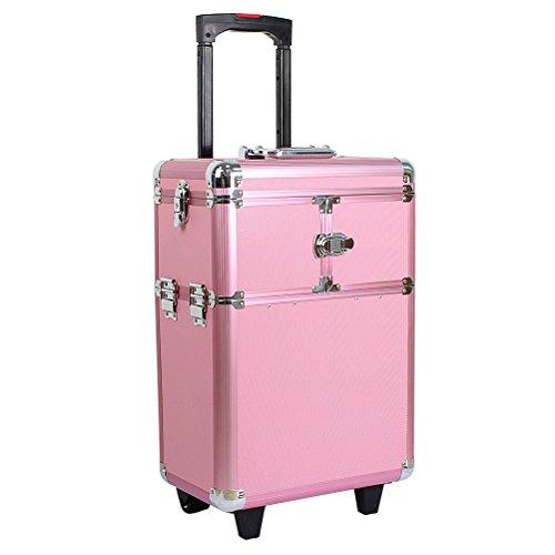 HBF Valigia Make Up Rosa con 2 Rotelle Trolley Make up Beauty Case Accessori Bellezza Professionale...