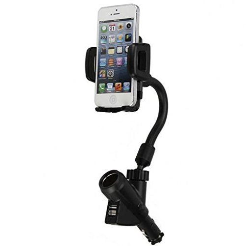 Car Mount Charging Socket Holder Extra 2-Port USB Dock Cradle Gooseneck Swivel for Tracfone LG Rebel - Tracfone LG Sunrise - Tracfone LG Treasure - Tracfone LG Ultimate 2