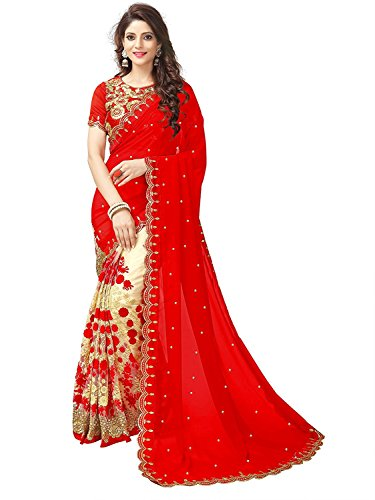 Lara fashion hub Georgette Saree With Blouse Piece (CTFS11491_Red_Free Size)