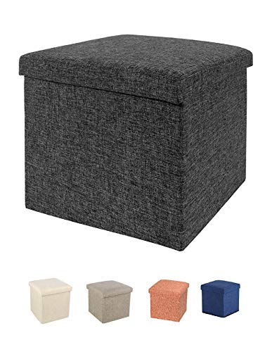 ABTRIX WITH AB Living Foldable Storage Bins Box Ottoman Bench Container Organizer with Cushion Seat Lid, Cube,Multi Colour(28X28X28 cm cm)