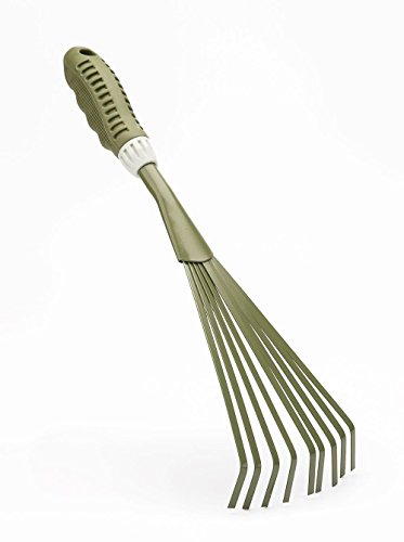 Rastrillo de Jardinería Nivelador de Hojas , Herramientas de Jardinería Manuales, Cabezal de Acero al Carbono c/ Mango Suave TPR