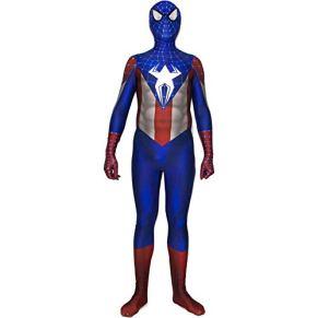 QWEASZER Marvel Avengers Spider-Man Capitán América, Spiderman Disfraz Zentai Onesie Ropa Traje Halloween Lycra Cosplay Body Película Disfraces Onesies,Blue-175~180cm