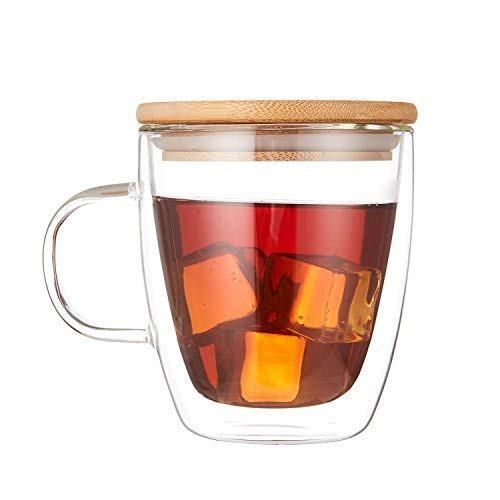 Cooko Cristallo Vetro Caffè a Doppia Parete,Vetro Resistenti al Calore,Tazze ad Alta Borosilatura con Manico per tè,Latte,Cappuccino,Succo,350ml set di 1