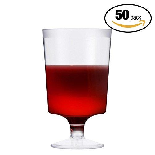 50 PCS Bicchieri da Vino in Plastica Trasparente 180ml - Monouso, Riutilizzabile e Riciclabile 100% - Elegante, Trasparente Come Vetro, Infrangibile - Calici da Vino per Catering, Feste, Natale.