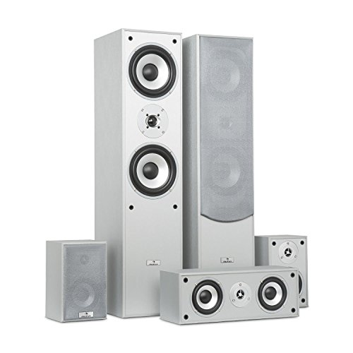 auna Surround Speaker Box Set • Surround Sound System • Sistema Home Theater • Bass Reflex Chassis • 335 W RMS • Max. Potenza di 1.150 W • Possibilità di montaggio a parete • 5 box • Argento