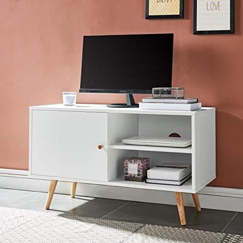 ANNETTE Meuble TV scandinave décor blanc + pieds en bois massif - L 90 cm