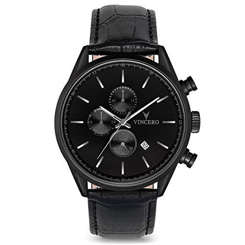 Vincero Herren Chrono S Chronograph Quarz Uhr Mit Lederband - Blau/Schwarz