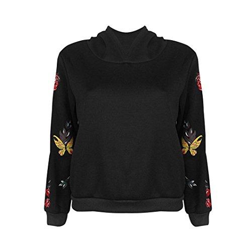 """Cinnamou-Mujer Camisetas, Mujeres Sudadera con Capucha de Manga Larga Jersey Sudadera con Capucha Top Blusa Mariposas Decorativas (Negro, S-Busto:98cm/38.6"""")"""