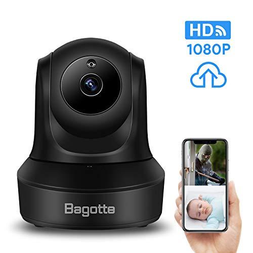 Bagotte FullHD 1080p Telecamera di sorveglianza per interno, Videocamera IP Wireless, Pan/Tilt/Zoom-Audio bidirezionale/Baby monitor/Animali Domestici con Storage nel Cloud-128 GB TF/MicroSD (Max)