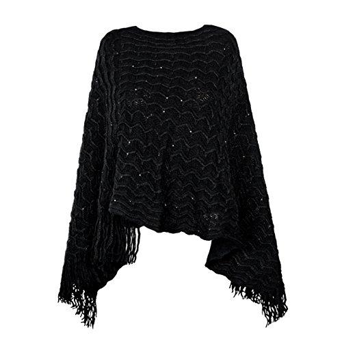 Poncho da donna con scollo a V forma triangolare Capo di lana morbida rifinito con frange di col....