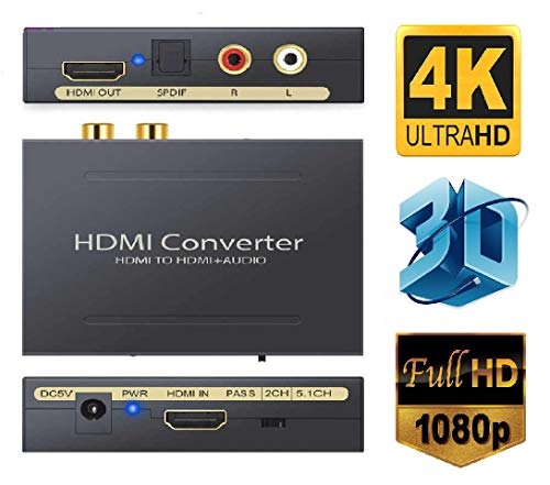 Microware Hdmi Audio Extractor, 4K X 2K to Optical Toslink Spdif Digital Splitter + Analog L, R 3.5mm Jack Uhd Video Out - Support HDMI 1.4