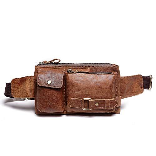 Teemzone Sporttasche Bauchtasche Hüfttasche Gürteltasche Wandertasche Hip Bag Reisetasche Doggy Bag Portmonai Geldbörse Damen Herren Leder (Braun)
