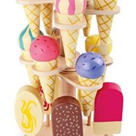 1248 Porta gelati mobile small foot in legno, accessori per negozio e cucina per bambini, 15 tipi di