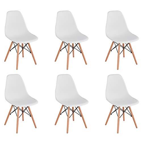 KunstDesign Set di 6 Sedie da Pranzo con Seduta in Polipropilene e Gambe in Legno Massello di...