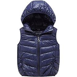 OHmais Kinder Unisex Jungen Mädchen Winter Daunen weste Steppweste Kapuze kurz Weste Outwear Jacke