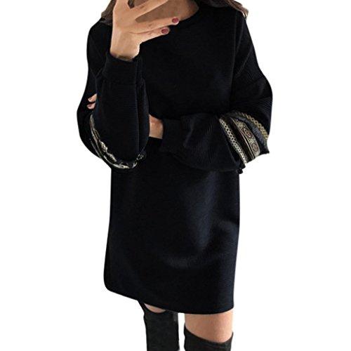 KOLY Da donna Tassel gonne etniche Abito stile retrò maniche lunghe  Pullover Vestito Felpa Manica Lunga ... 9b188b7b58b