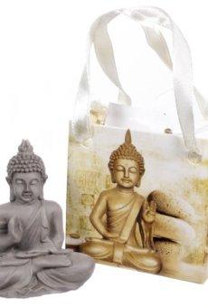 Buda pequeño Gris Figura de Adorno en Bolsa de Regalo