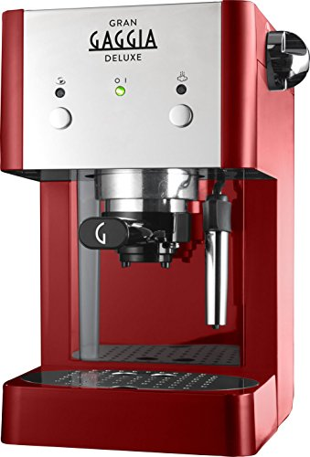Gaggia Gran Gaggia Deluxe water filter espresso coffee device bundle (red) (2 months of Brita Intenza+) (1 cartridge) (1 cup, 2 cups) (15 bars) (Gaggia Pods, Illy ESE pods)