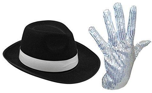 MENS LADIES MICHAEL JACKSON SILVER SEQUIN GLOVE AL CAPONE HAT 70 80S FANCY DRESS (SILVER...