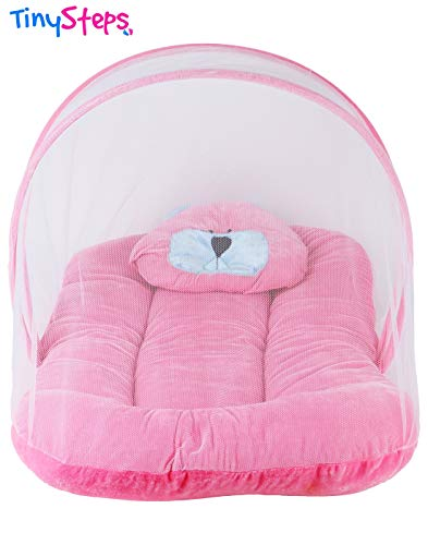 TinySteps Newborn Baby Velvet Bedding Gift Set with Mosquito Net, Foldable Mattress and Pillow (Pink)