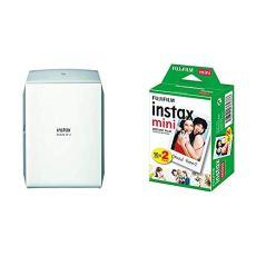 Fujifilm Instax Share SP-2 - Impresora para Smartphone, Plata + Instax - Mini película, Pack of 2 x 10 Hojas (20 Hojas)