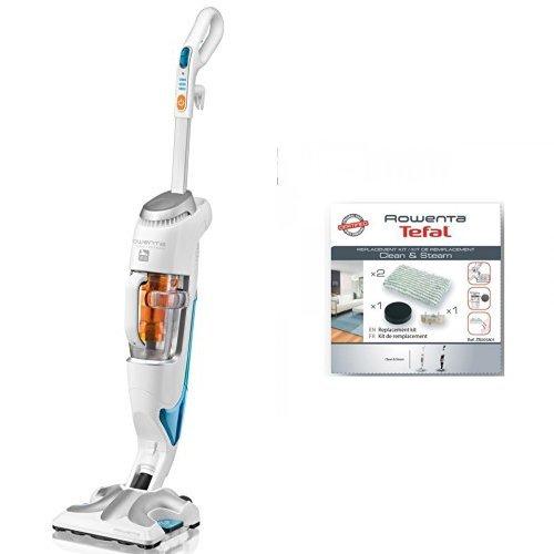 Rowenta RY7557WH Clean & Steam Scopa elettrica e lavapavimenti a vapore + kit panni