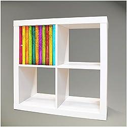 Möbelsticker für IKEA EXPEDIT (Kallax) Regal 32,6x32,6cm mit Motiv: Bunte Holzlatten