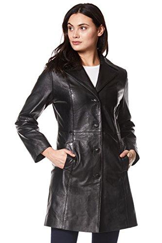 Smart Range Trench Ladies Leather Jacket Black Classic Knee-Length Designer Coat 3457 (18 for Bust 40')