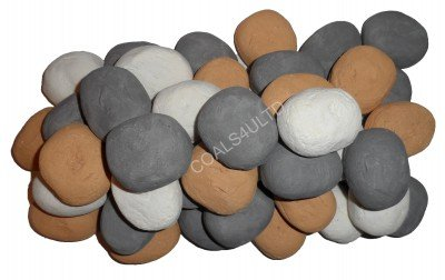 10 Gas Fire Replacement Ceramic Vibrant colours Pebbles Replacements/Bio Fuels/Ceramic/Boxed/Lot of colours (GREY/BEIGE/WHITE) IN COALS 4 YOU BRANDED PACKING