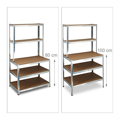 relaxdays 10020719 etag re charge lourde tabli jusqu 39 900 kg 5 niveaux 60 cm profondeur m tal. Black Bedroom Furniture Sets. Home Design Ideas