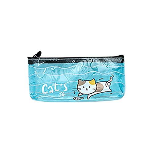 Nowbetter astuccio con zip cute Cartoon Cat modello trasparente penna borsa multifunzionale studenti...