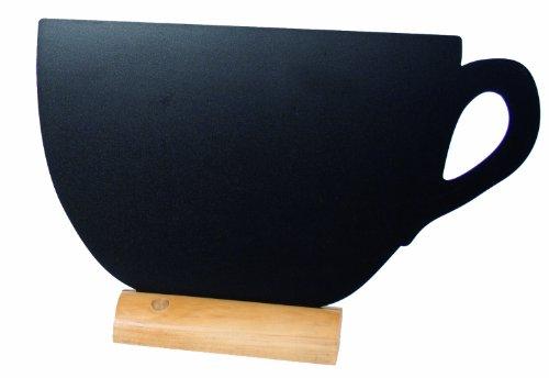 Securit FBT CUP - Lavagna a forma di tazza con base in legno da tavola, 22 x 33 x 6 cm