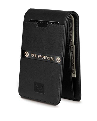 AL FASCINO Black Minimalist Slim Leather Wallet/Purse for Men with RFID Protection
