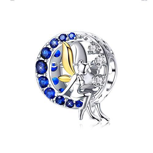 Abalorio de ángel de plata de ley 925 con diseño de luna azul y hada lunar, compatible con pulseras europeas Pandora
