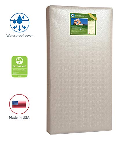 """Sealy Soybean Foam-Core Infant/Toddler Crib Mattress - Hypoallergenic Soy Foam, Extra Firm, Durable Waterproof Cover, Lightweight, Air Quality Certified Foam, 52""""x28"""""""