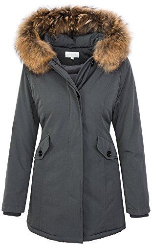Giacca da donna con vera pelliccia, invernale, con cappuccio D-204 Grau XS