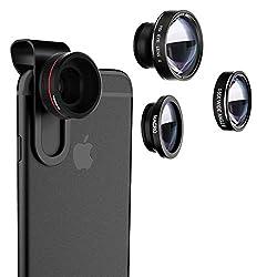 Kaufen VTIN 3 in 1 Fisheye Objektiv Clip On Handy Objektiv Linse Fischauge (180°Fisheye Objektiv, 0.65X Weitwinkelobjektiv, 10X Makroobjektiv) Kamera Objektiv Set für iPhone und die meisten Smartphone